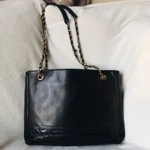 Auth CHANEL GST Lambskin Quilted Shopping Tote Bag